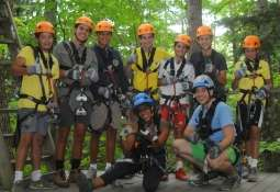 Group of zip liners taking a group photo