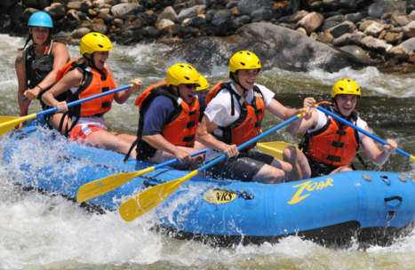 Group of adventurers on a Dryway rafting trip
