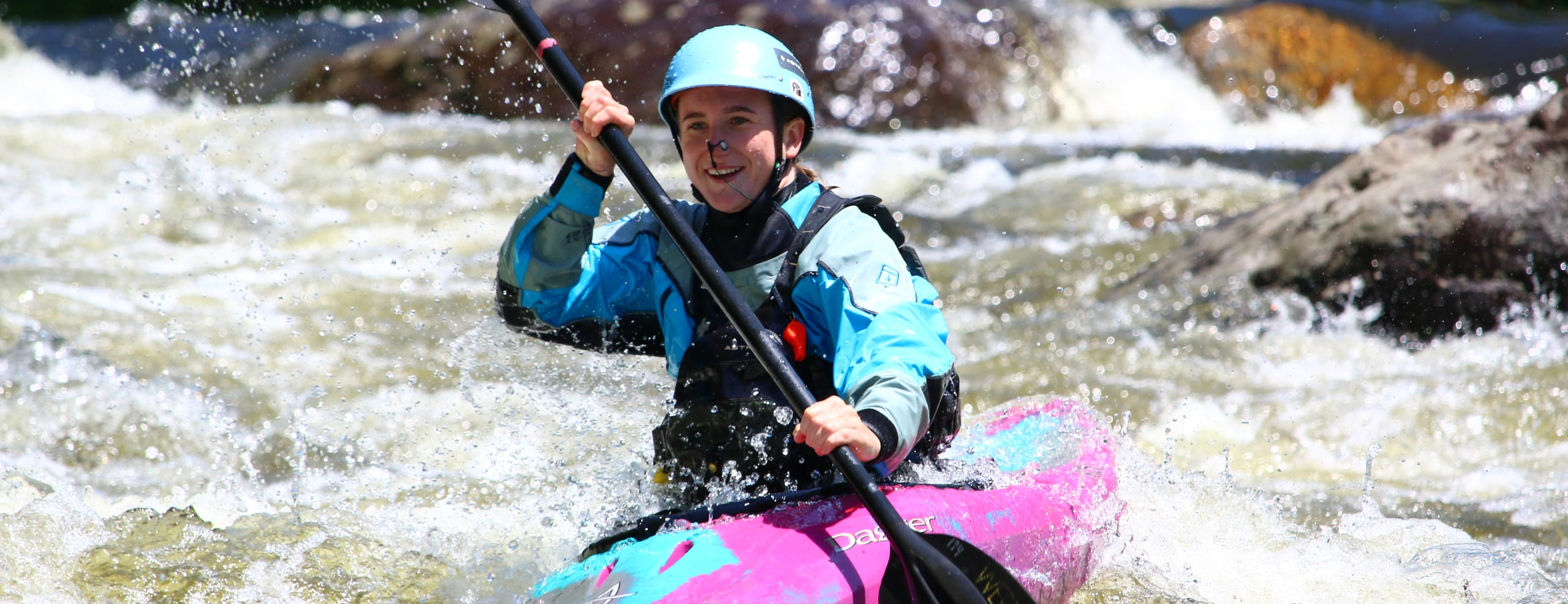 Anna kayaking down the Dryway river